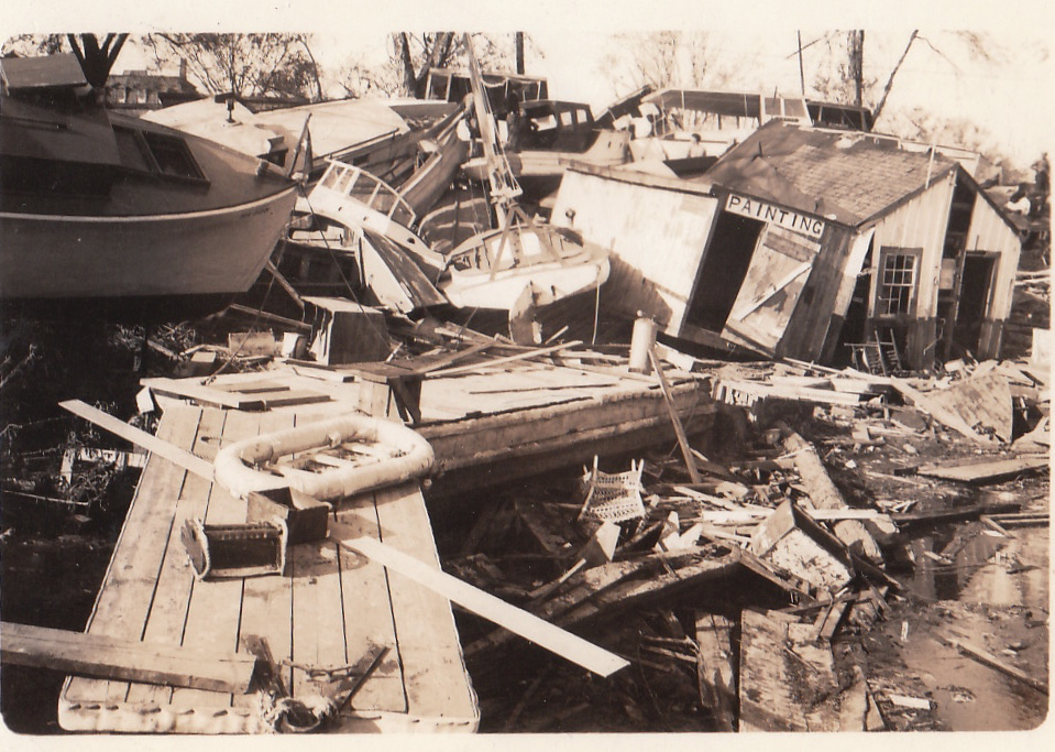 Boat Yards at Port of Providence, Coolest Photo of building, taken the day after the hurricane. High resolution reprint available for $20