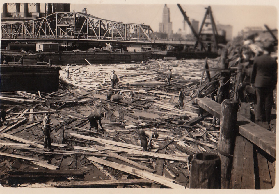 HURRICANE OF 1938, FOREGROUND DESTRUCTION, BRIDGE, CRANE, PROVIDENCE,RI.