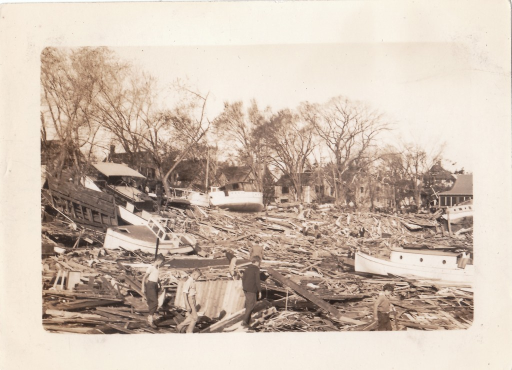 Harbor area destroyed by storm surge. New England Hurricane of 1938. Rhode Island, Pawtuxet Village 1938 September 22!