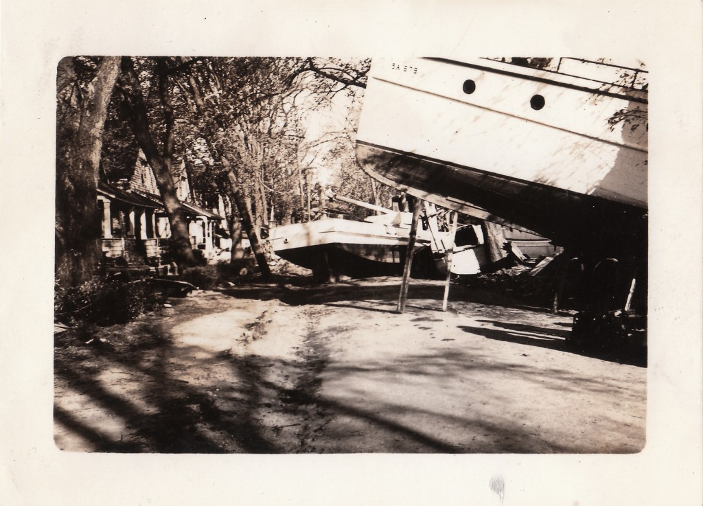 BOATS PUSHED UP ONTO ROAD FROM STORM SURGE, PAWTUCKET AREA, RI, HURRICANE OF 1938.