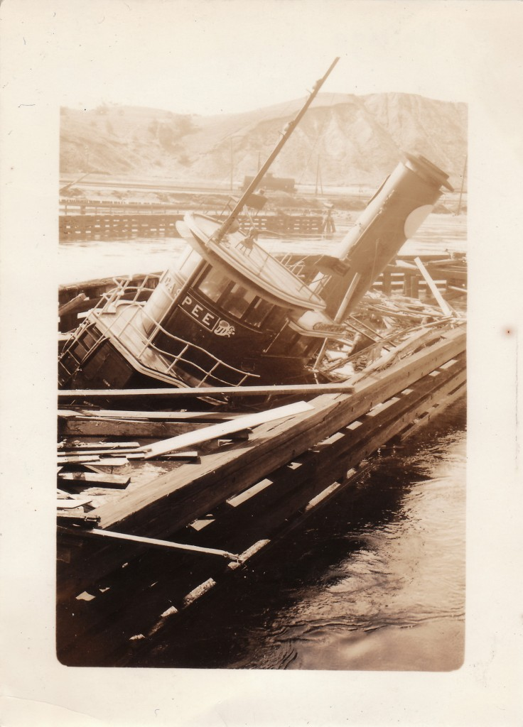 GASPEE TUG DAMAGED IN PROVIDENCE HARBOR, PROVIDENCE, RI, SEPTEMBER 22, 1938.